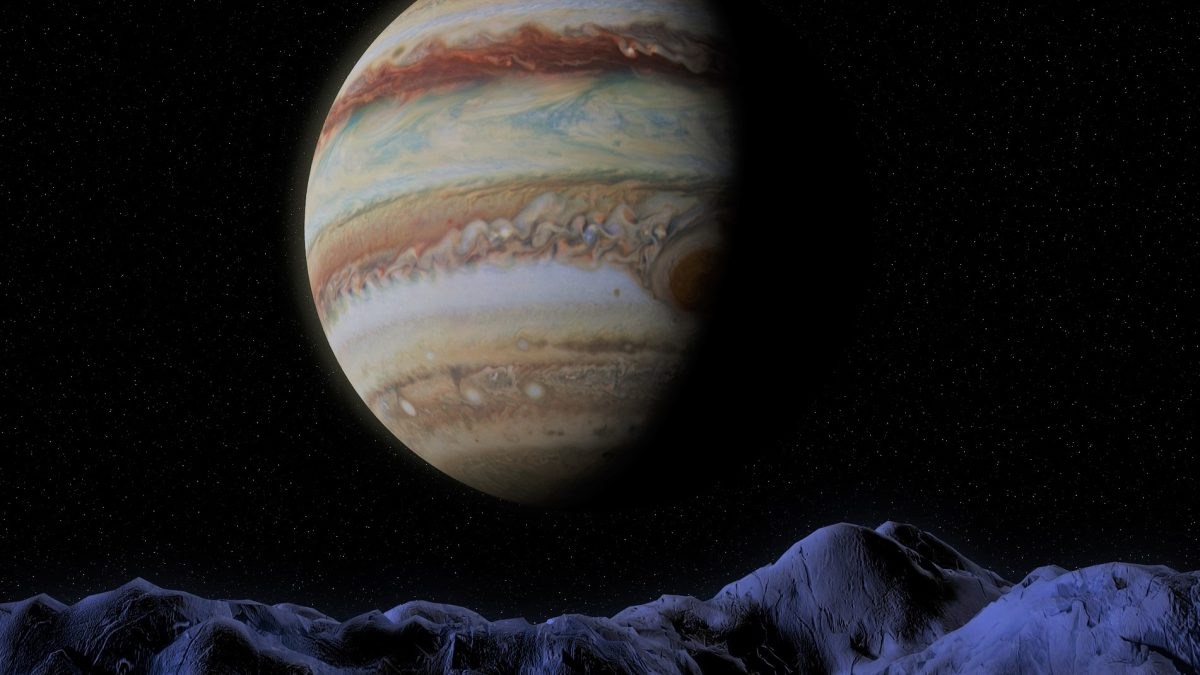 Image of Jupiter from a moon's mountain range